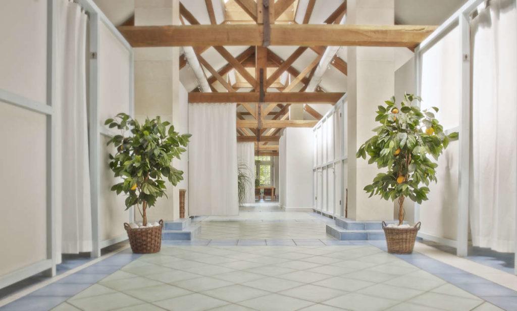 In einem weitläufigen Raum mit Orangenbäumen und abgetrennten Kabinen ist offenes Dachgebälk zu sehen