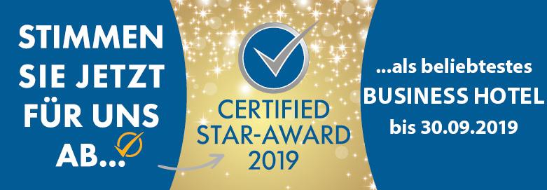Banner zum Voting für den Certified Star Award als beliebtestes Business-Hotel.